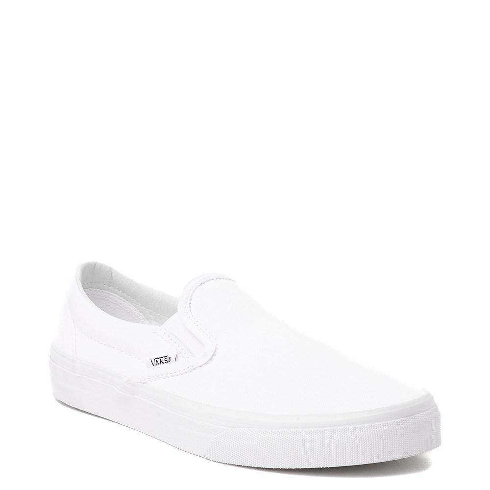 white slip on vans sale