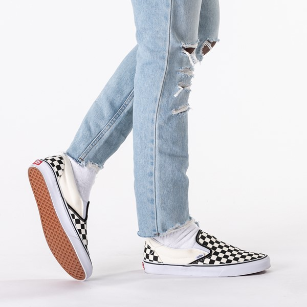 alternate image alternate view Vans Slip On Checkerboard Skate Shoe - Black / WhiteB-LIFESTYLE1
