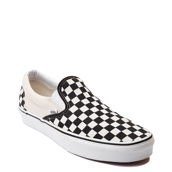 alternate image alternate view Vans Slip On Chex Skate Shoe - Black / WhiteALT1