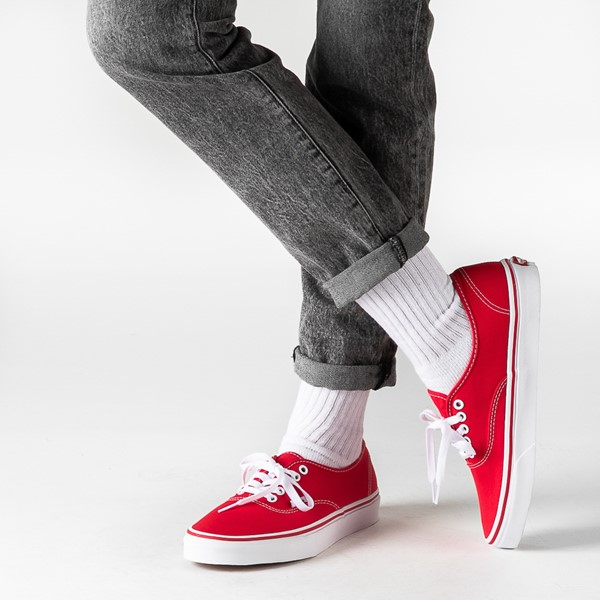 alternate image alternate view Vans Authentic Skate Shoe - Red / WhiteB-LIFESTYLE1