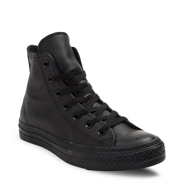 alternate image alternate view Converse All Star Hi Leather Sneaker - Black MonochromeALT1