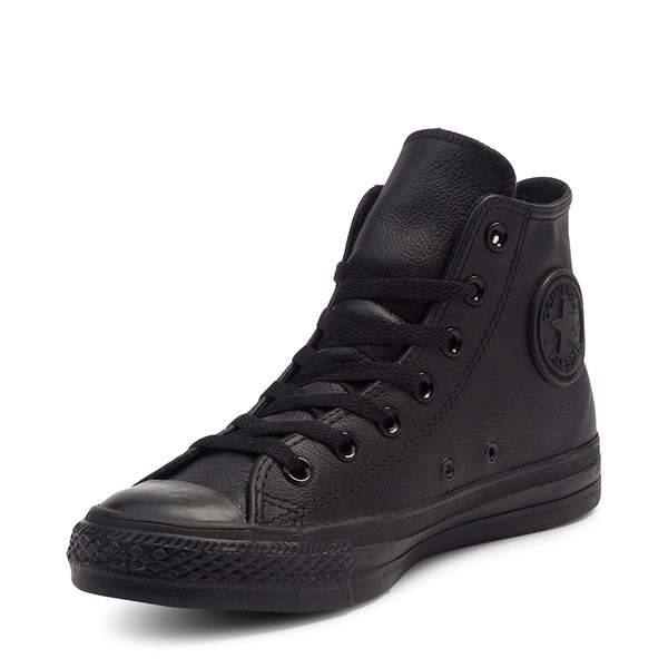 alternate image alternate view Converse All Star Hi Leather Sneaker - Black MonochromeALT3