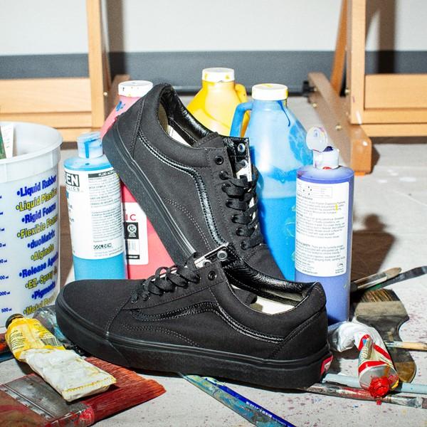 alternate image alternate view Vans Old Skool Skate Shoe - Black MonochromeALT1B