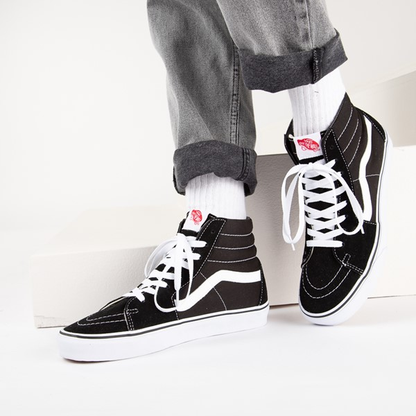 alternate image alternate view Vans Sk8 Hi Skate Shoe - Black / WhiteB-LIFESTYLE1