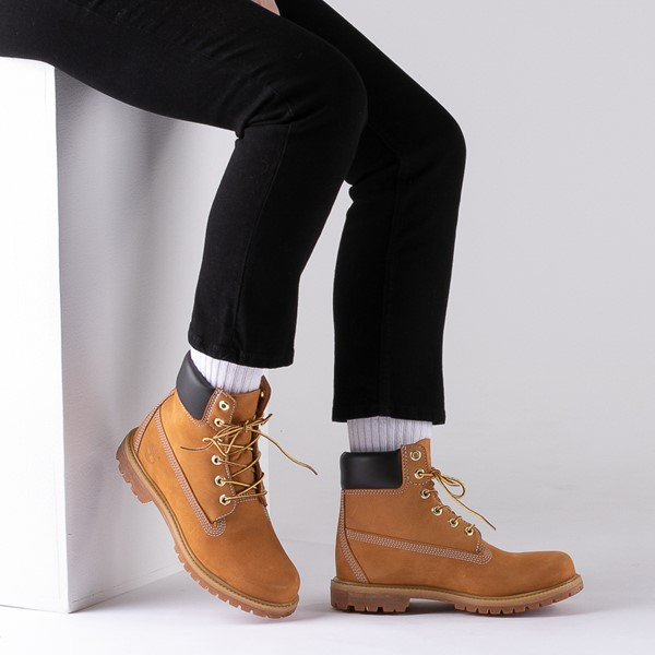 "alternate image alternate view Womens Timberland 6"" Premium Boot - WheatB-LIFESTYLE1"