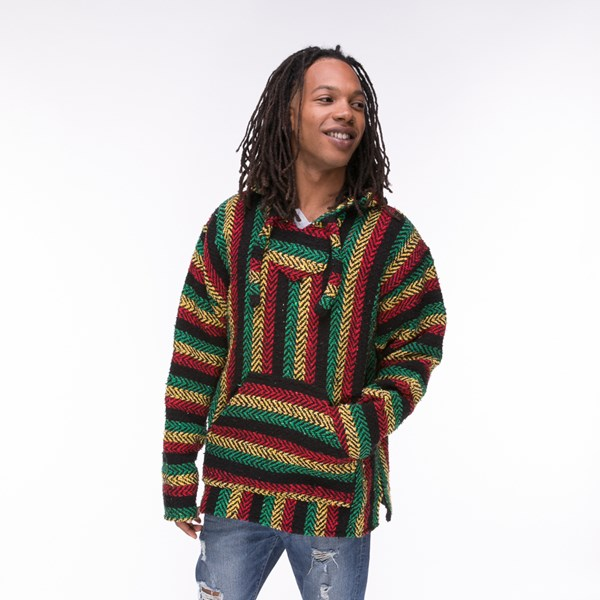 Main view of Mens Baja Rasta Poncho - Multicolor
