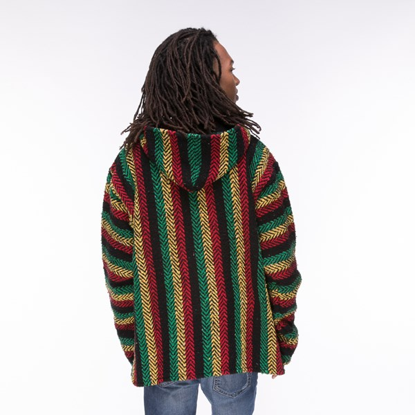 alternate image alternate view Mens Baja Rasta Poncho - MulticolorALT2