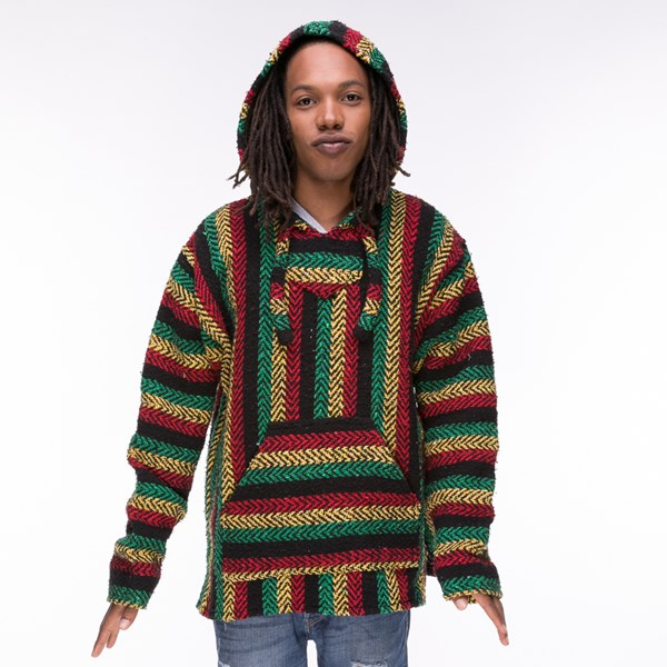 alternate image alternate view Mens Baja Rasta Poncho - MulticolorALT4
