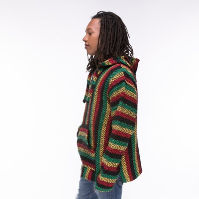 Alternate view of Mens Baja Rasta Poncho - Multicolor