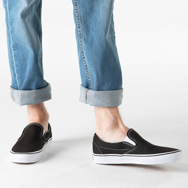 alternate image alternate view Vans Slip On Skate Shoe - Black / WhiteB-LIFESTYLE1