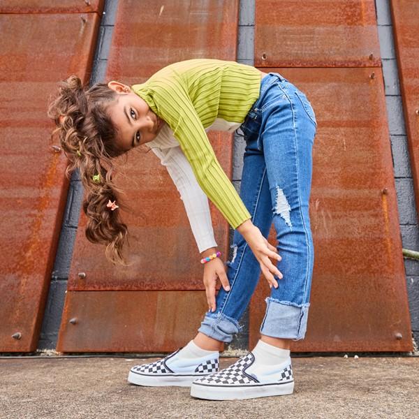 alternate image alternate view Vans Slip On Checkerboard Skate Shoe - Little Kid / Big Kid - Black / WhiteALT1B