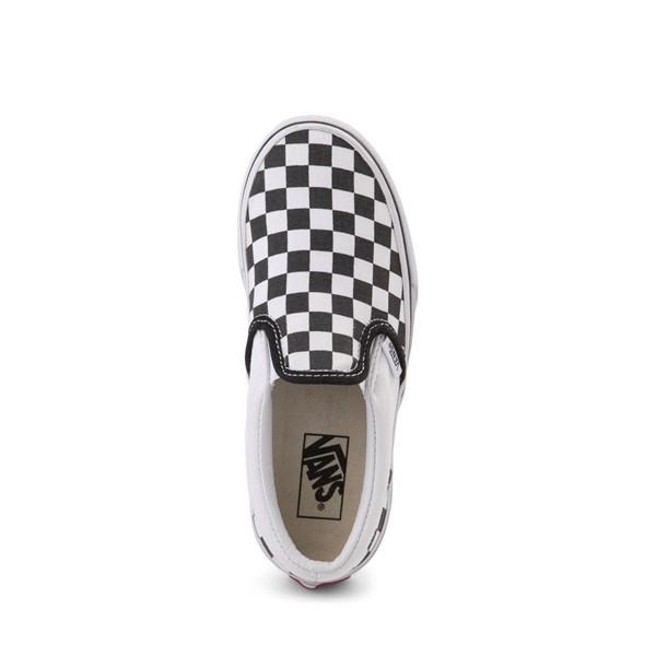 alternate image alternate view Vans Slip On Checkerboard Skate Shoe - Little Kid / Big Kid - Black / WhiteALT2