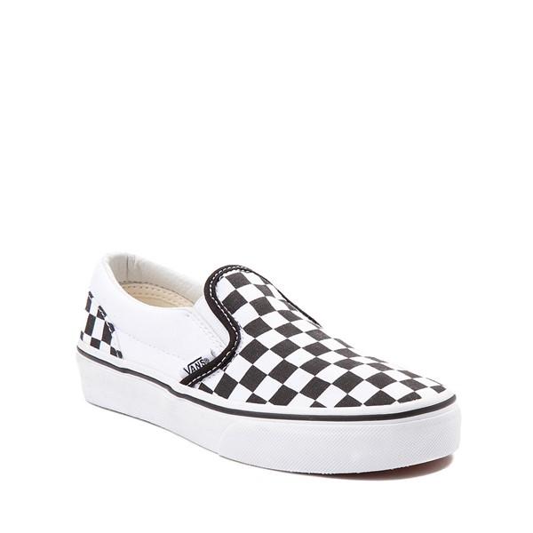 alternate image alternate view Vans Slip On Checkerboard Skate Shoe - Little Kid / Big Kid - Black / WhiteALT5