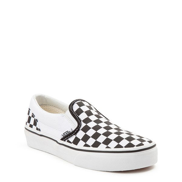 alternate image alternate view Vans Slip On Checkerboard Skate Shoe - Little Kid / Big Kid - Black / WhiteALT1