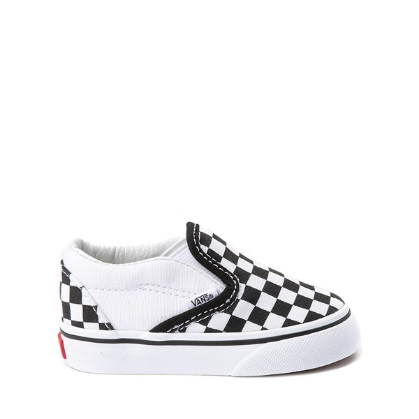 Main view of Vans Slip On Chex Skate Shoe - Baby / Toddler - Black / White