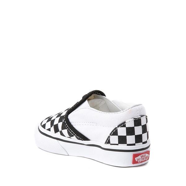 alternate view Vans Slip On Chex Skate Shoe - Baby / Toddler - Black / WhiteALT1