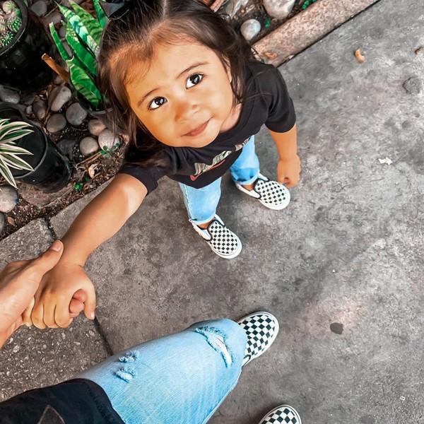 alternate view Vans Slip On Chex Skate Shoe - Baby / Toddler - Black / WhiteALT1B