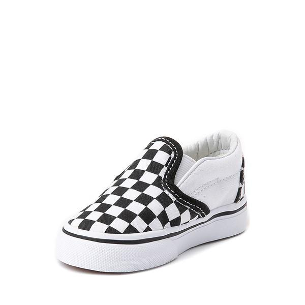 alternate view Vans Slip On Chex Skate Shoe - Baby / Toddler - Black / WhiteALT2