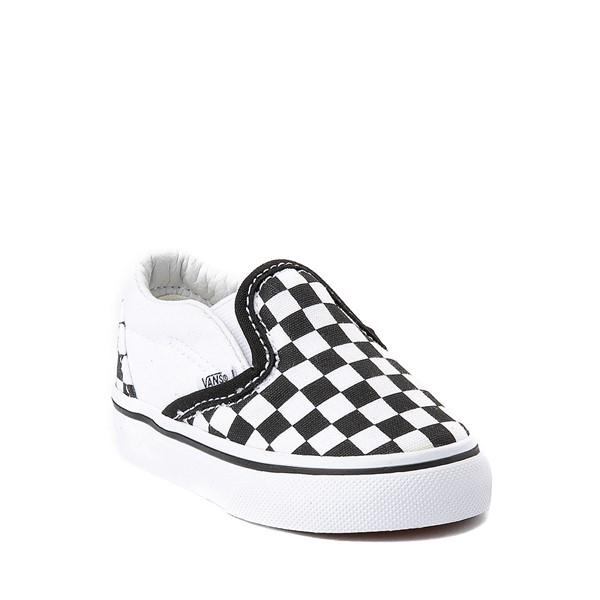 alternate view Vans Slip On Chex Skate Shoe - Baby / Toddler - Black / WhiteALT5
