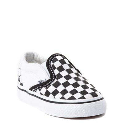 Alternate view of Vans Slip On Chex Skate Shoe - Baby / Toddler - Black / White