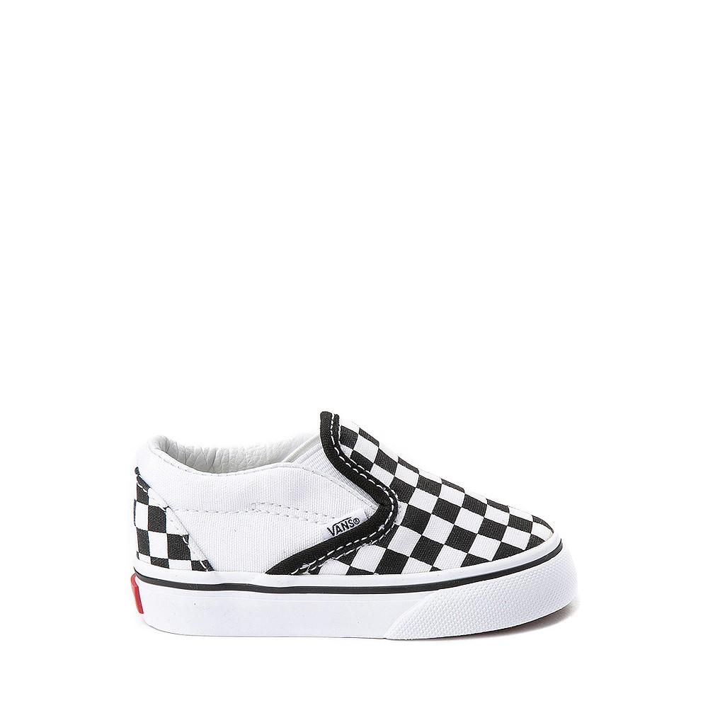 Vans Slip On Chex Skate Shoe - Baby / Toddler - Black / White