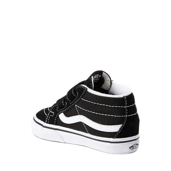 alternate image alternate view Vans Sk8 Mid V Skate Shoe - Baby / Toddler - Black / WhiteALT1