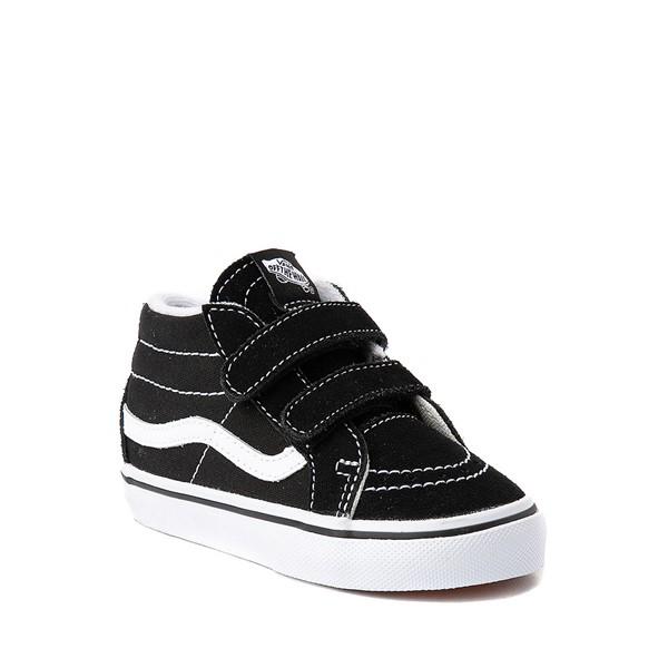 alternate image alternate view Vans Sk8 Mid V Skate Shoe - Baby / Toddler - Black / WhiteALT5