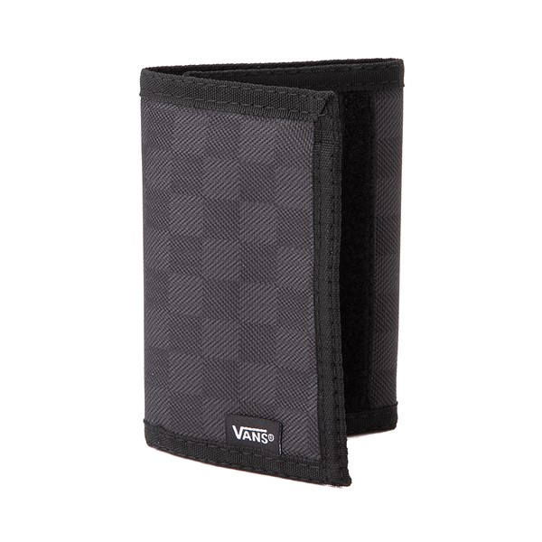Main view of Vans Slipped Tri-Fold Checkerboard Wallet - Black / Grey
