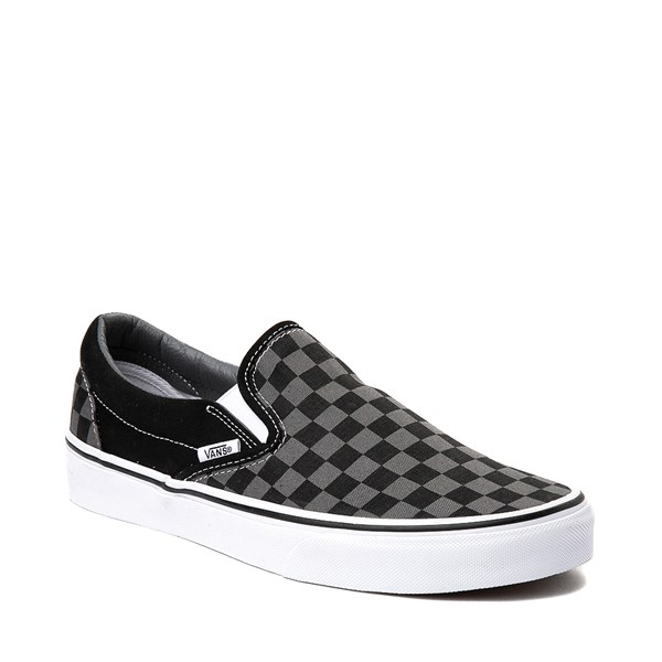 alternate image alternate view Vans Slip On Chex Skate Shoe - Grey / BlackALT5