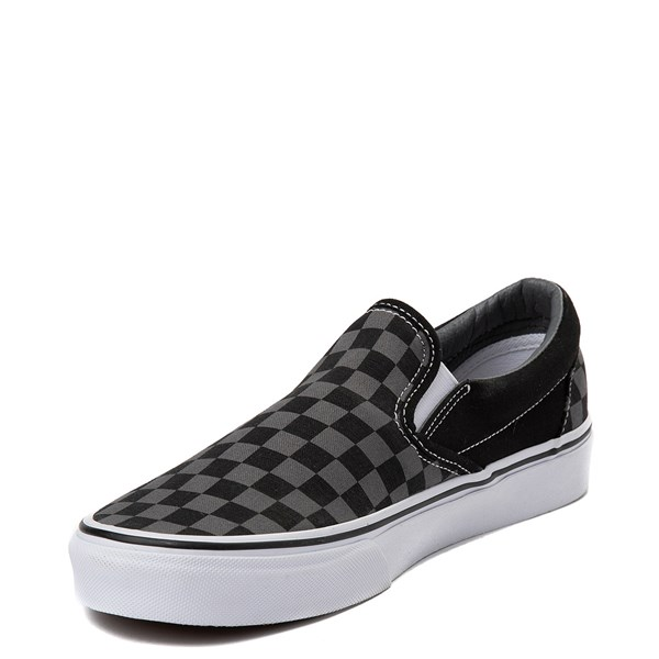 alternate image alternate view Vans Slip On Chex Skate Shoe - Grey / BlackALT2