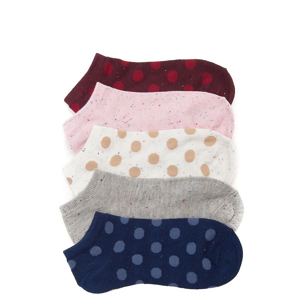 Womens Polka Dots Low Cut Socks 5 Pack