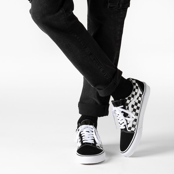 alternate image alternate view Vans Old Skool Checkerboard Skate Shoe - Black / WhiteB-LIFESTYLE1