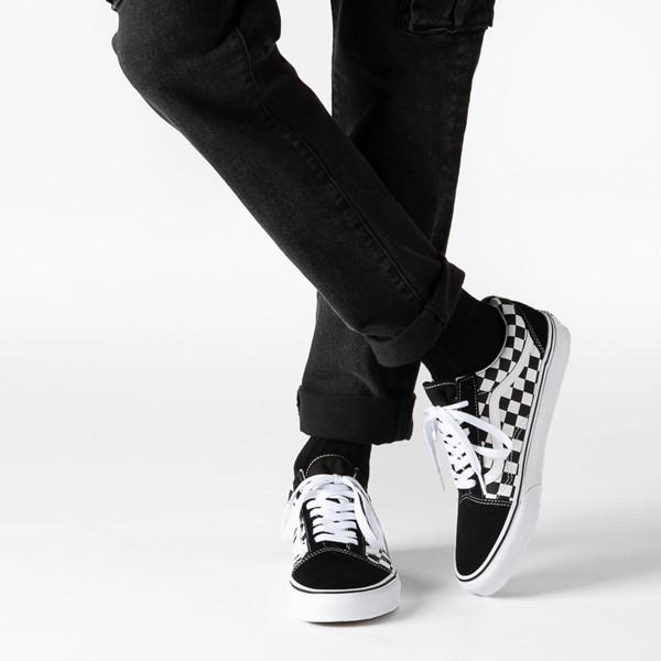 alternate image alternate view Vans Old Skool Checkerboard Skate Shoe - Black / WhiteB-LIFESTYLE1