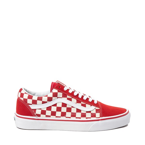 Main view of Vans Old Skool Checkerboard Skate Shoe - Red / White