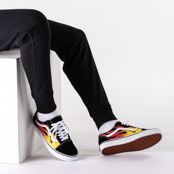 alternate image alternate view Vans Old Skool Flames Skate Shoe - BlackB-LIFESTYLE1