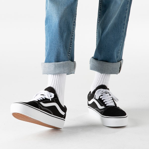 alternate image alternate view Vans Old Skool Platform Skate Shoe - Black / WhiteB-LIFESTYLE1