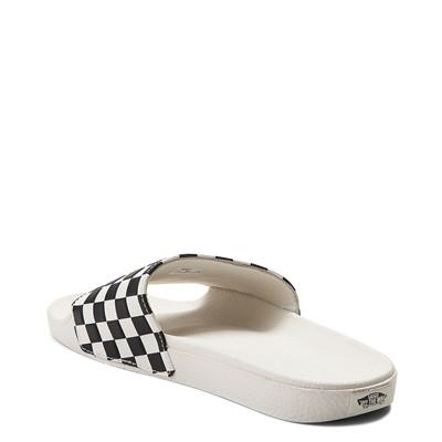 Alternate view of Womens Vans Slide On Checkerboard Sandal - White / Black