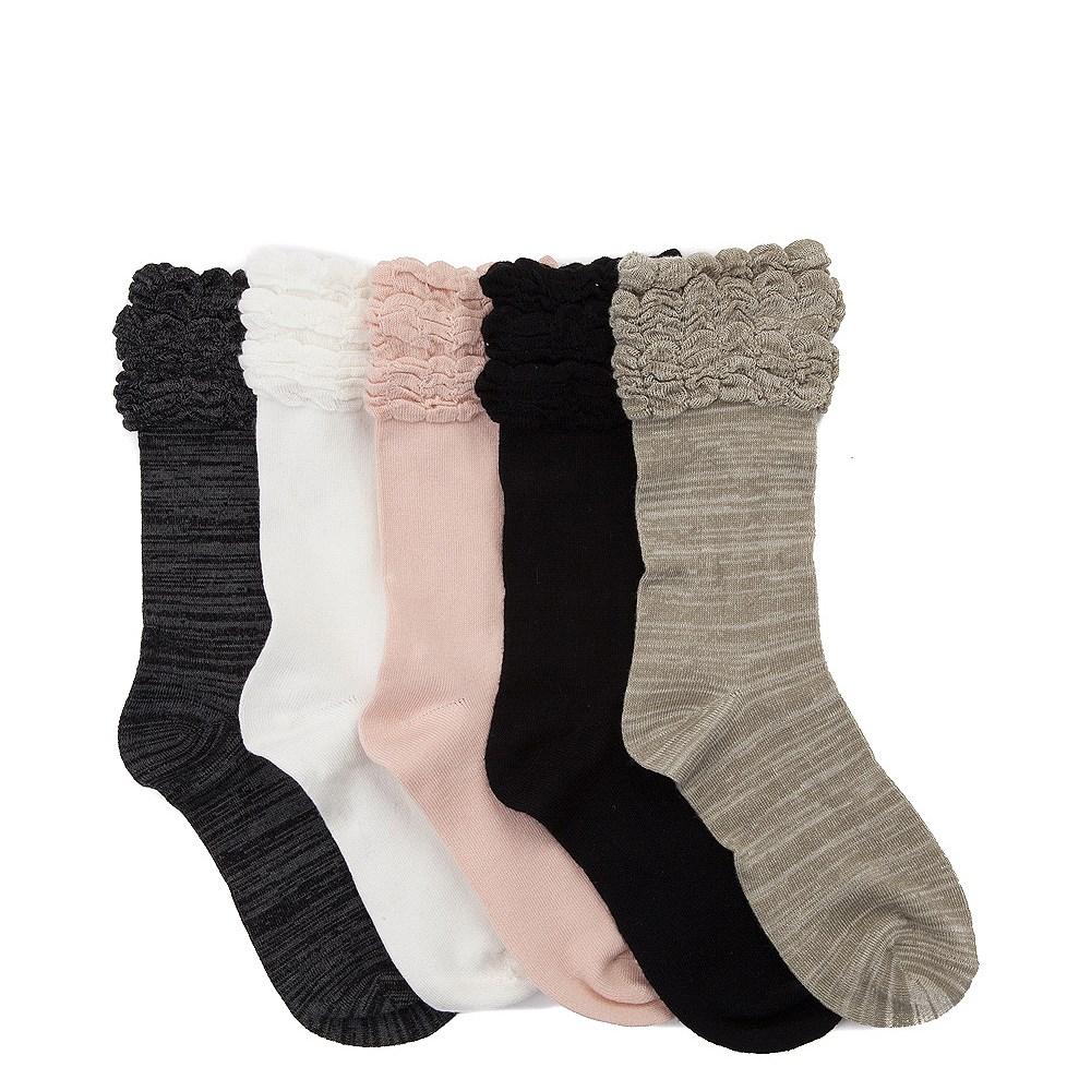Womens Ruffle Crew Socks 5 Pack