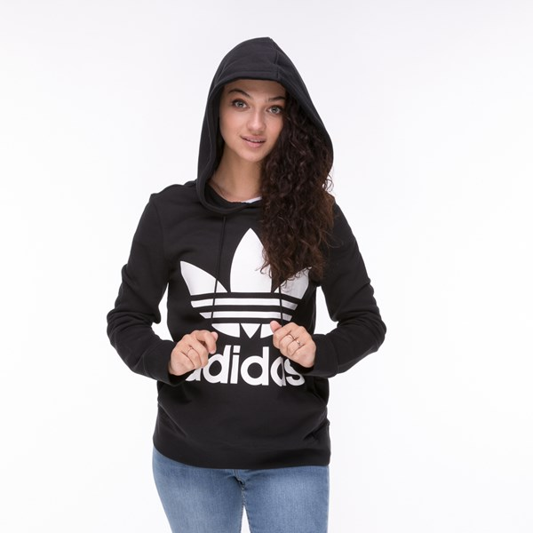 alternate image alternate view Womens adidas Trefoil Hoodie - BlackALT4