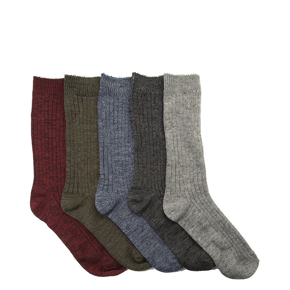 Mens Marled Knit Boot Socks 5 Pack