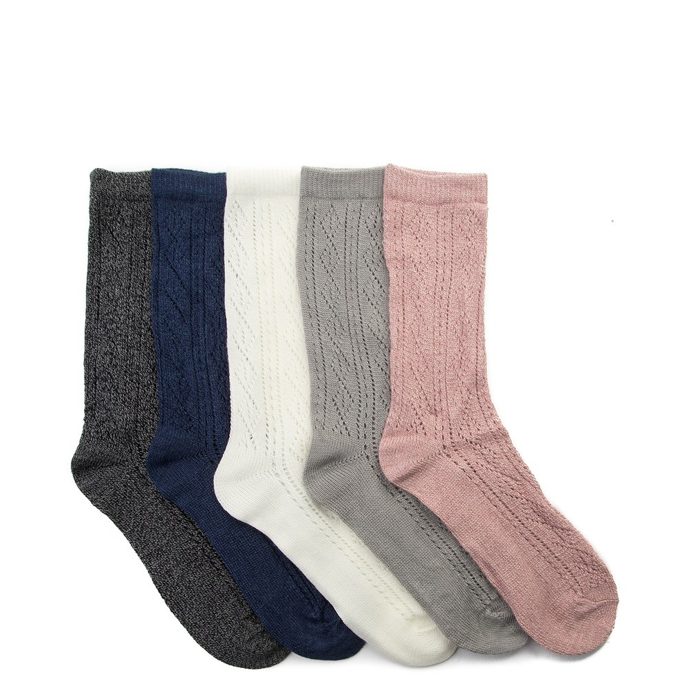 Womens Pointelle Crew Socks 5 Pack