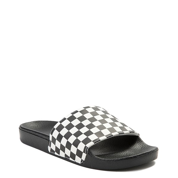 alternate image alternate view Mens Vans Slide On Checkerboard Sandal - Black / WhiteALT1