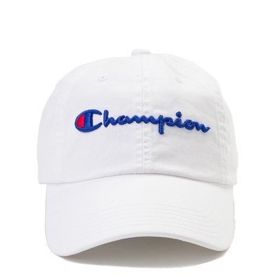 Main view of Champion Script Dad Hat - White