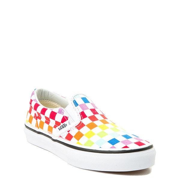 alternate image alternate view Vans Slip On Rainbow Chex Skate Shoe - Little Kid / Big KidALT1