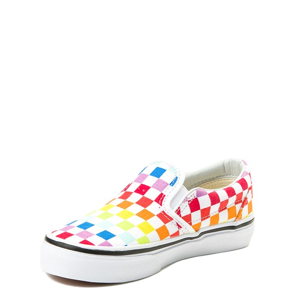 alternate image alternate view Vans Slip On Rainbow Chex Skate Shoe - Little Kid / Big KidALT3