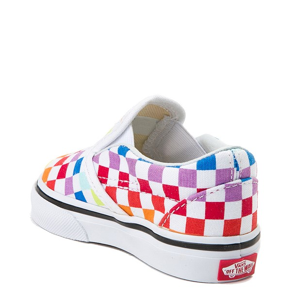 alternate image alternate view Vans Slip On Rainbow Chex Skate Shoe - Baby / Toddler - MultiALT1