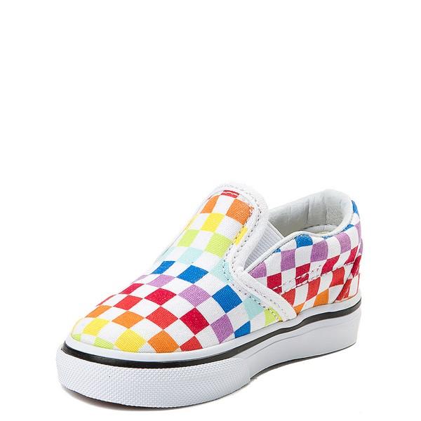alternate image alternate view Vans Slip On Rainbow Chex Skate Shoe - Baby / Toddler - MultiALT2