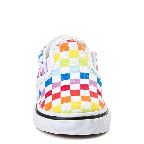 alternate image alternate view Vans Slip On Rainbow Chex Skate Shoe - Baby / Toddler - MultiALT4