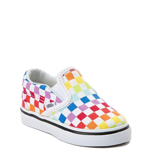 alternate image alternate view Vans Slip On Rainbow Chex Skate Shoe - Baby / Toddler - MultiALT5
