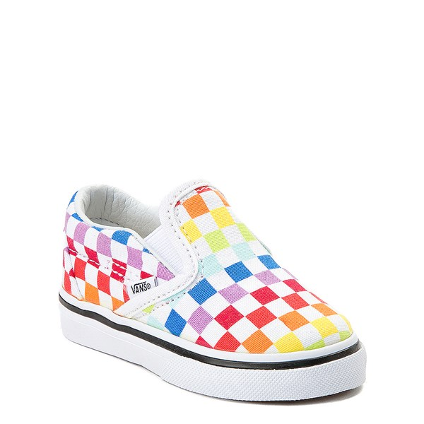 alternate image alternate view Vans Slip On Rainbow Chex Skate Shoe - Baby / Toddler - ToddlerALT1